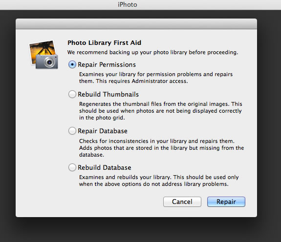 Iphoto library not updating