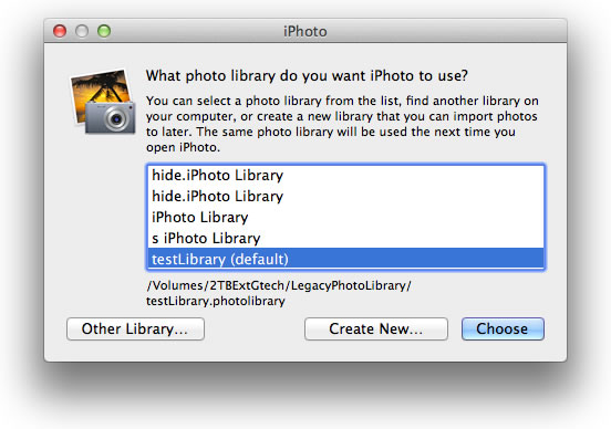 How to switch between libraries in iPhoto